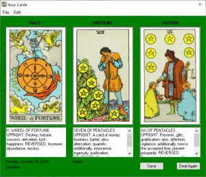 Tarot Windows Past Present Future